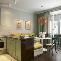идея светлого стиля кухни 14 кв.м фото