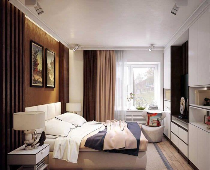 вариант яркого интерьера спальной комнаты для молодого человека