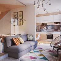 вариант необычного стиля гостиной спальни 20 кв.м. картинка