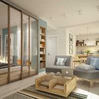 вариант яркого интерьера гостиной комнаты 18 кв.м. фото