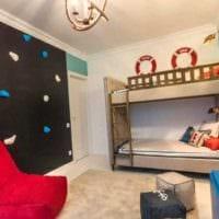 вариант необычного стиля детской комнаты для двоих детей фото