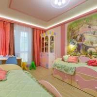 пример необычного интерьера детской комнаты для двоих девочек фото