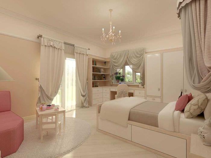 идея яркого стиля небольшой комнаты в общежитии