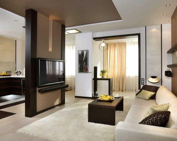идея светлого дизайна спальни гостиной