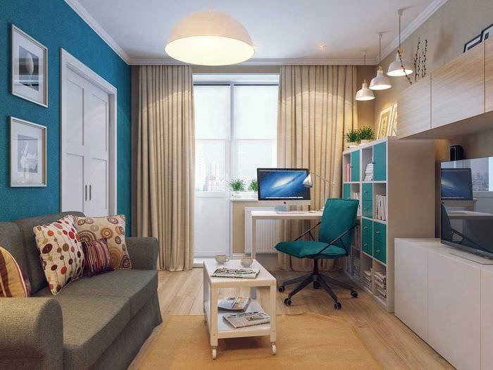 идея красивого декора гостиной комнаты 18 кв.м.