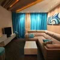 вариант красивого интерьера гостиной спальни 20 кв.м. картинка