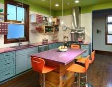 идея яркого декора кухни 14 кв.м фото