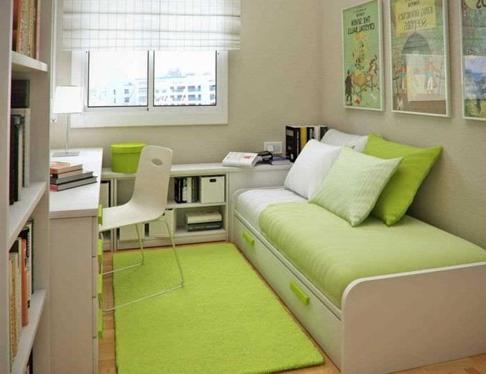 вариант красивого стиля маленькой комнаты в общежитии