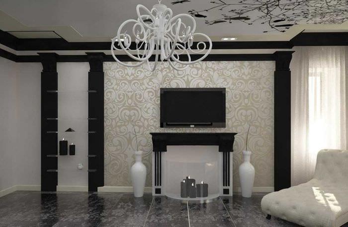 вариант яркого интерьера зала в частном доме