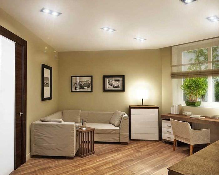 вариант необычного бежевого цвета в интерьере квартиры
