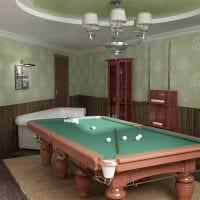 вариант необычного декора бильярдной комнаты фото