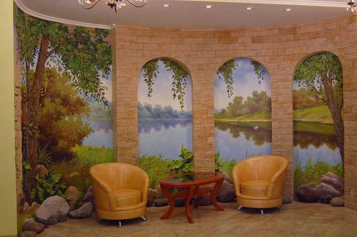 вариант необыкновенного рисунка дома с росписью стен