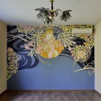 вариант необычного интерьера дома с росписью стен картинка