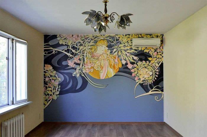 Роспись на стенах в современном интерьере