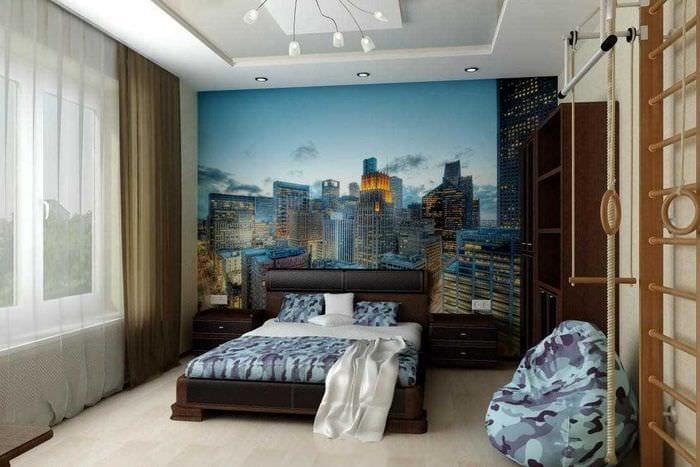 идея красивого дизайна спальни для молодого человека
