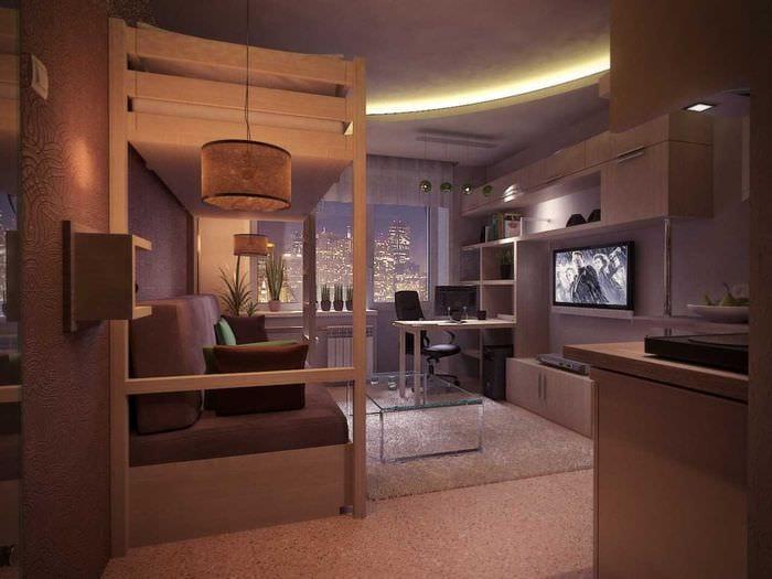 вариант светлого дизайна гостиной комнаты 18 кв.м.