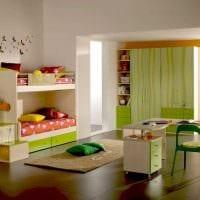 идея светлого стиля детской комнаты для двоих детей фото