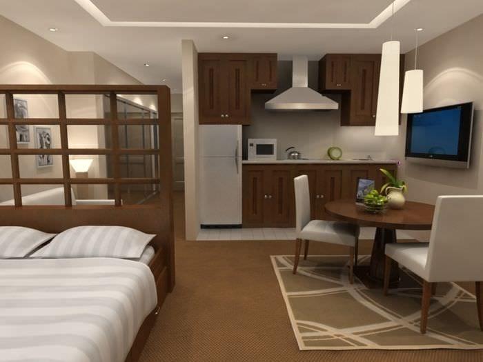 вариант необычного дизайна двухкомнатной квартиры в хрущевке