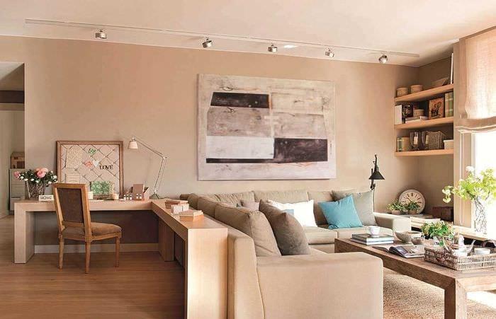 идея красивого стиля гостиной спальни 20 кв.м.