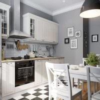 пример светлого стиля кухни 14 кв.м фото