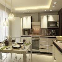 идея светлого интерьера кухни 8 кв.м картинка