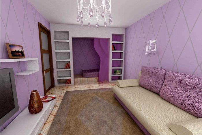 идея светлого декора гостиной спальни 20 кв.м.