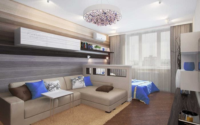 идея красивого интерьера гостиной спальни