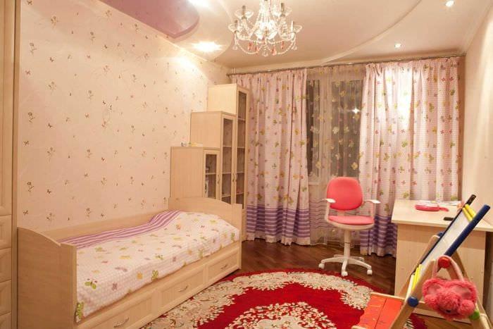 идея светлого дизайна детской комнаты для девочки 12 кв.м