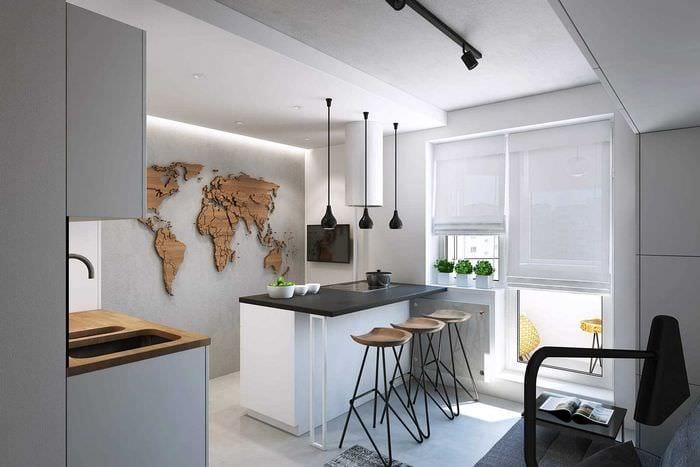 идея необычного интерьера кухни 14 кв.м