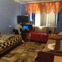 вариант необычного интерьера небольшой комнаты в общежитии картинка