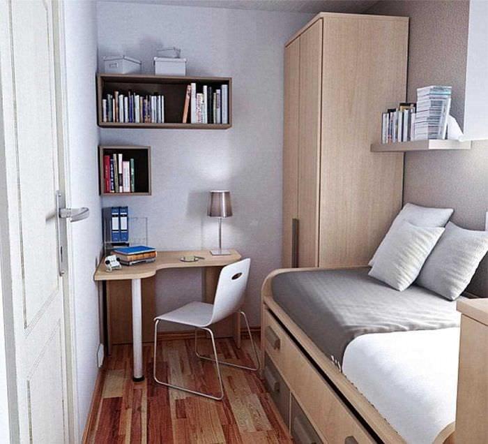 вариант необычного интерьера небольшой комнаты в общежитии