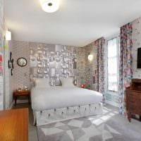идея светлого интерьера спальни в стиле пэчворк картинка