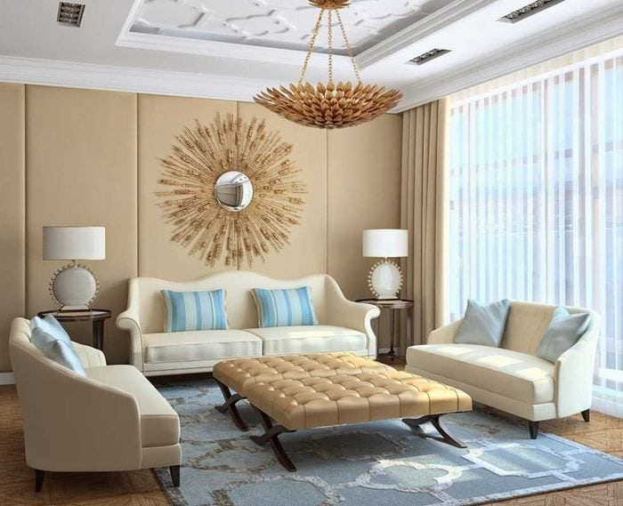 вариант яркого сочетания бежевого цвета в стиле комнаты