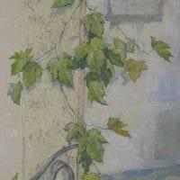 вариант светлого декора дома с росписью стен фото