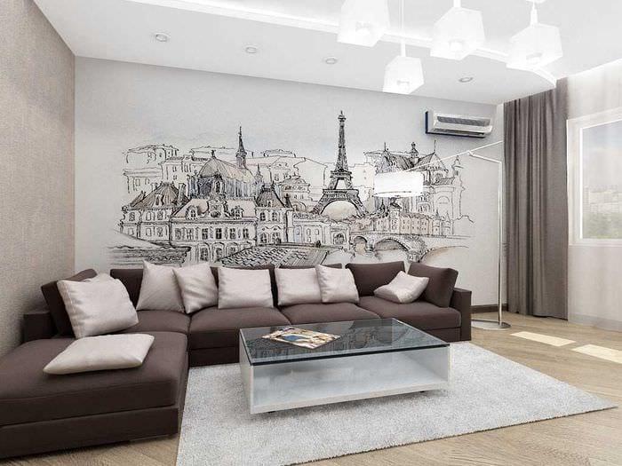 идея красивого интерьера дома с росписью стен