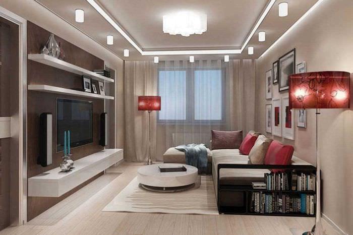 Дизайн в проходной комнате 18 кв м