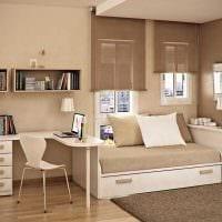 идея использования необычного бежевого цвета в дизайне комнаты