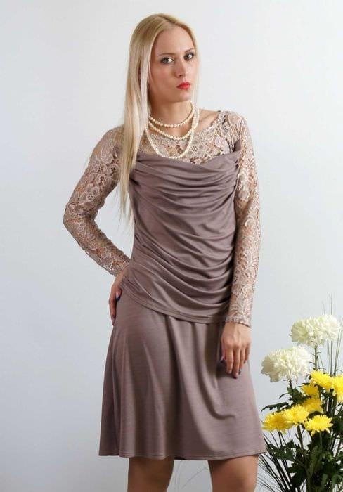 вариант применения яркого бежевого цвета в стиле одежды