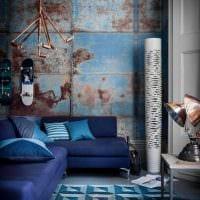вариант использования необычного голубого цвета в дизайне комнаты фото