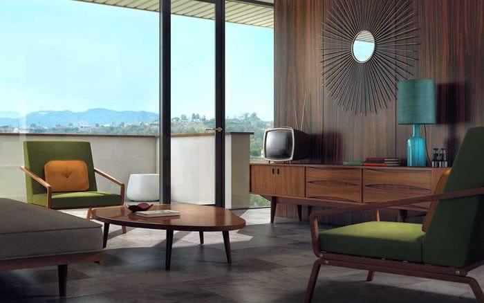 идея применения необычного дизайна комнаты в стиле ретро