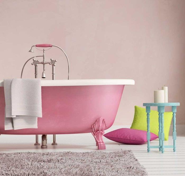 вариант использования розового цвета в светлом дизайне комнате