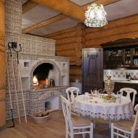 идея использования русского стиля в ярком дизайне комнате картинка