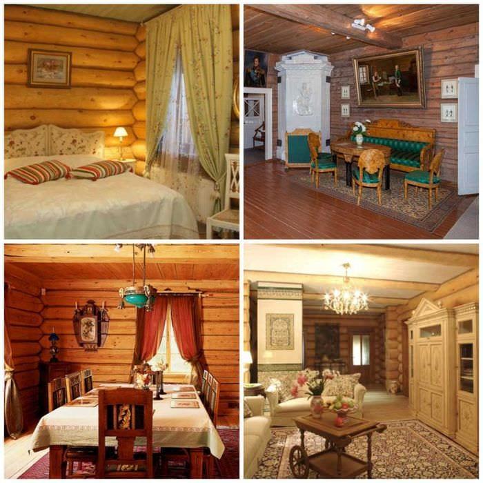 пример применения русского стиля в светлом дизайне комнате
