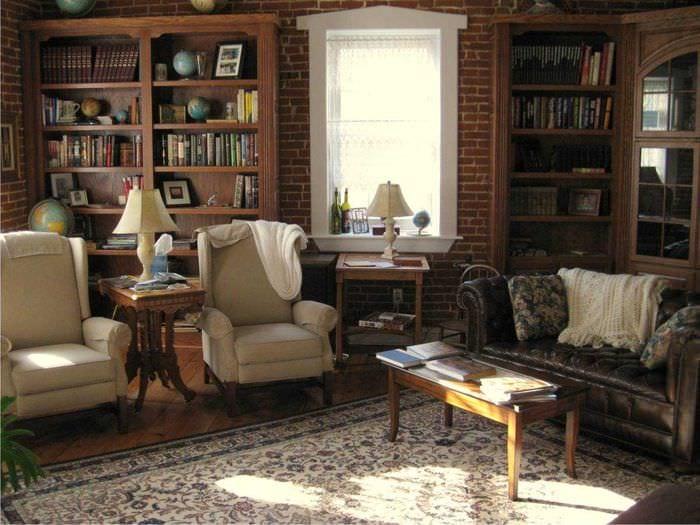 пример использования красивого декора комнаты в стиле ретро