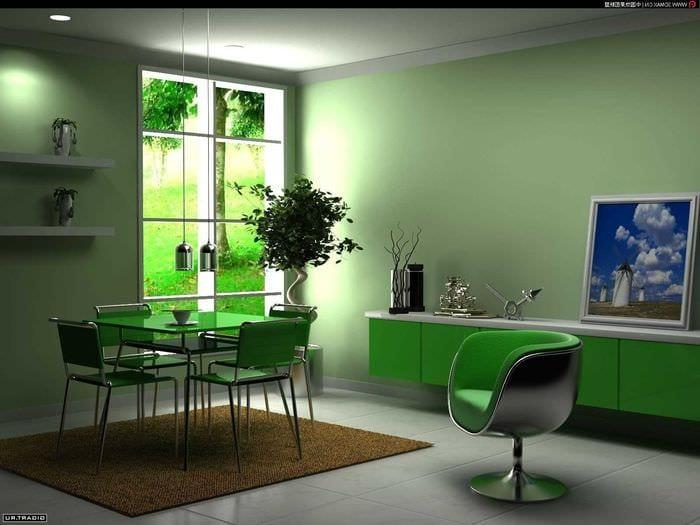 вариант использования зеленого цвета в необычном дизайне квартиры