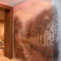 идея красивого стиля квартиры с росписью стен картинка