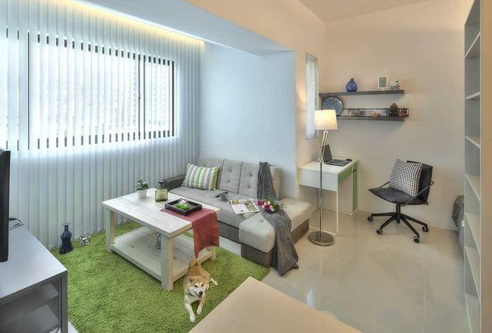 идея яркого дизайна двухкомнатной квартиры в хрущевке