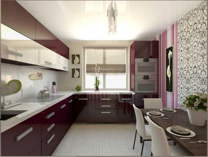 идея яркого интерьера кухни 9 кв.м