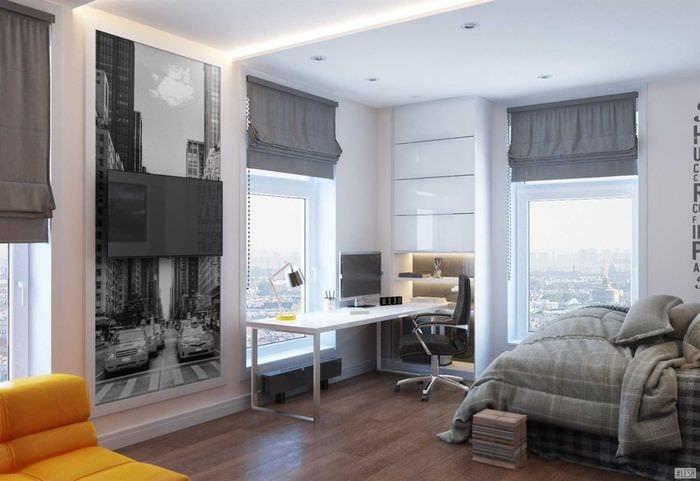 вариант яркого стиля спальни для молодого человека