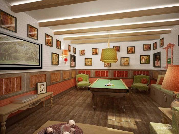 вариант красивого стиля бильярдной комнаты